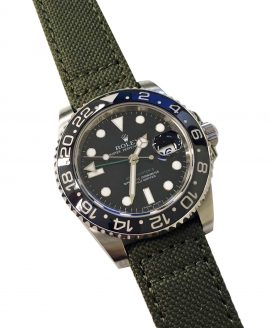 Rolex GMT Master II 116710LN on olive green Canvas strap Eulit