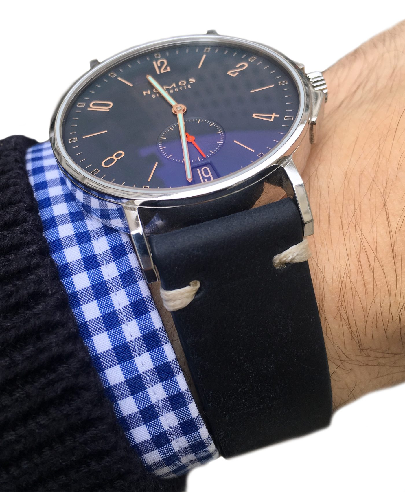 Nomos Ahoi Atlantic Date on midnight blue vintage leather strap by WB Original
