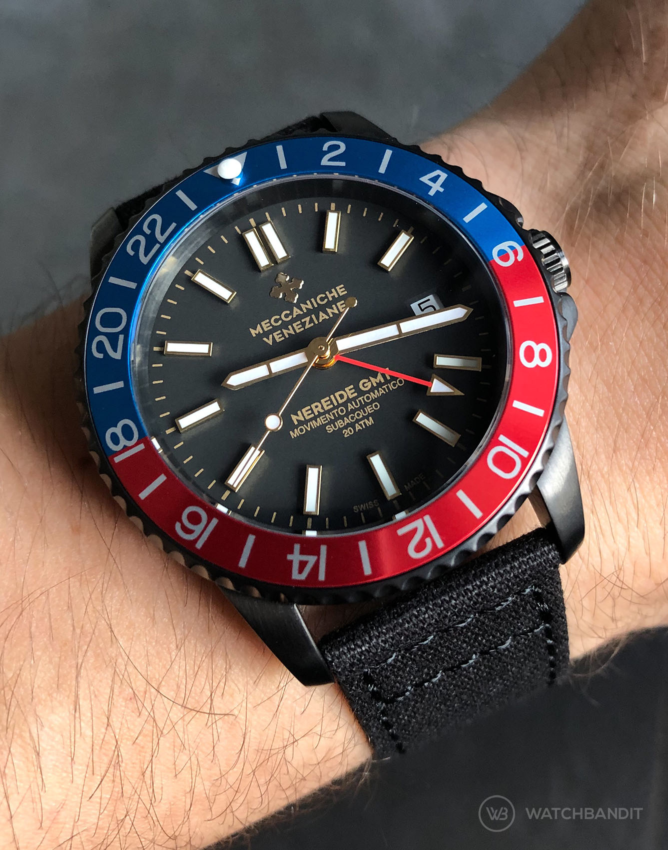 Meccaniche Veneziane Nereide GMT Pepsi Watchbandit black Canvas strap