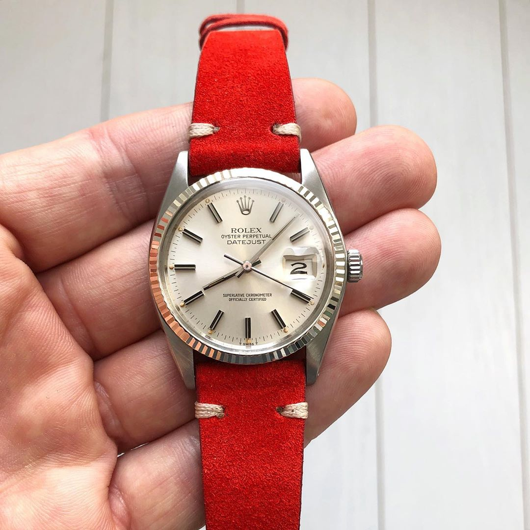 rolex datejust on red watchbandit suede by rolopalooza