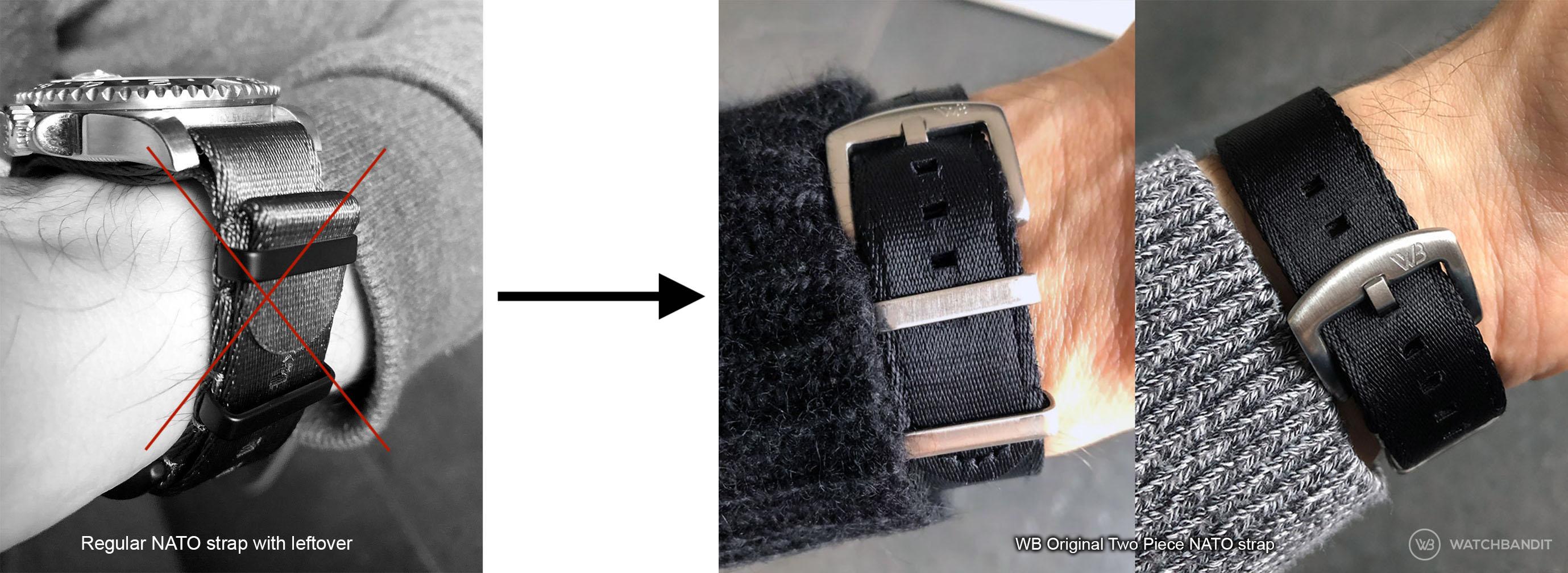 Reguläres NATO Uhrenarmband mit Überbleibsel im Vergleich zu einem zweiteiligen NATO Armband two piece NATO von Watchbandit