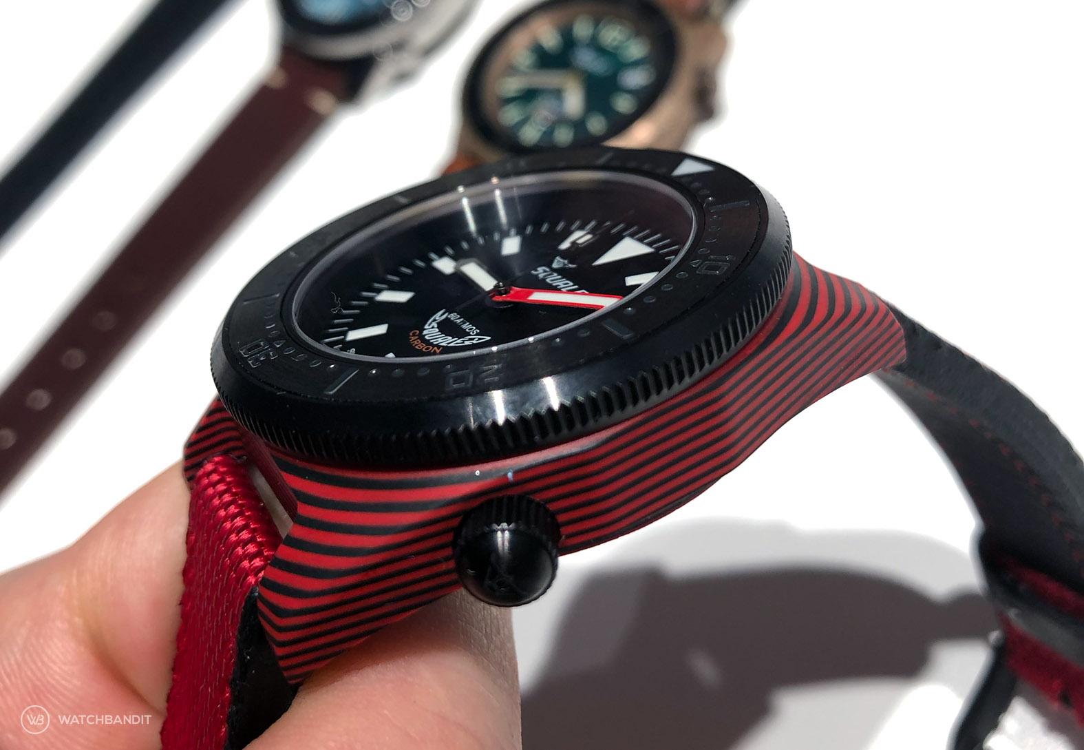 WatchBandit Squale T183 carbon fiber red