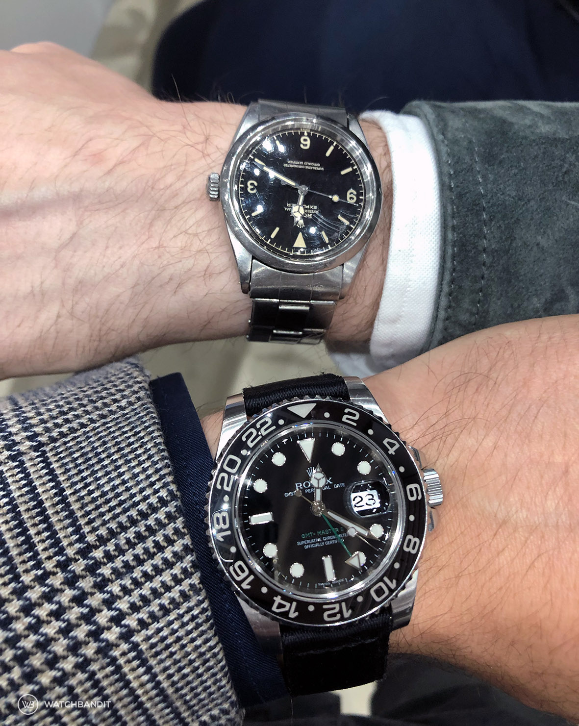 Stephen Pulvirent personal Rolex Explorer 1016 and a Rolex GMT Master 116710LN on WB Original two piece Nato