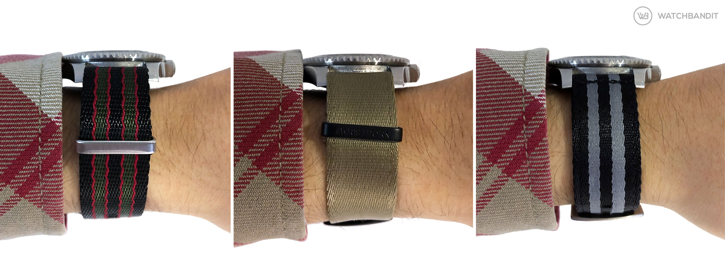 Height comparison of NATO straps 1,4 mm 1,2 mm 0 mm WatchBandit two piece NATO strap