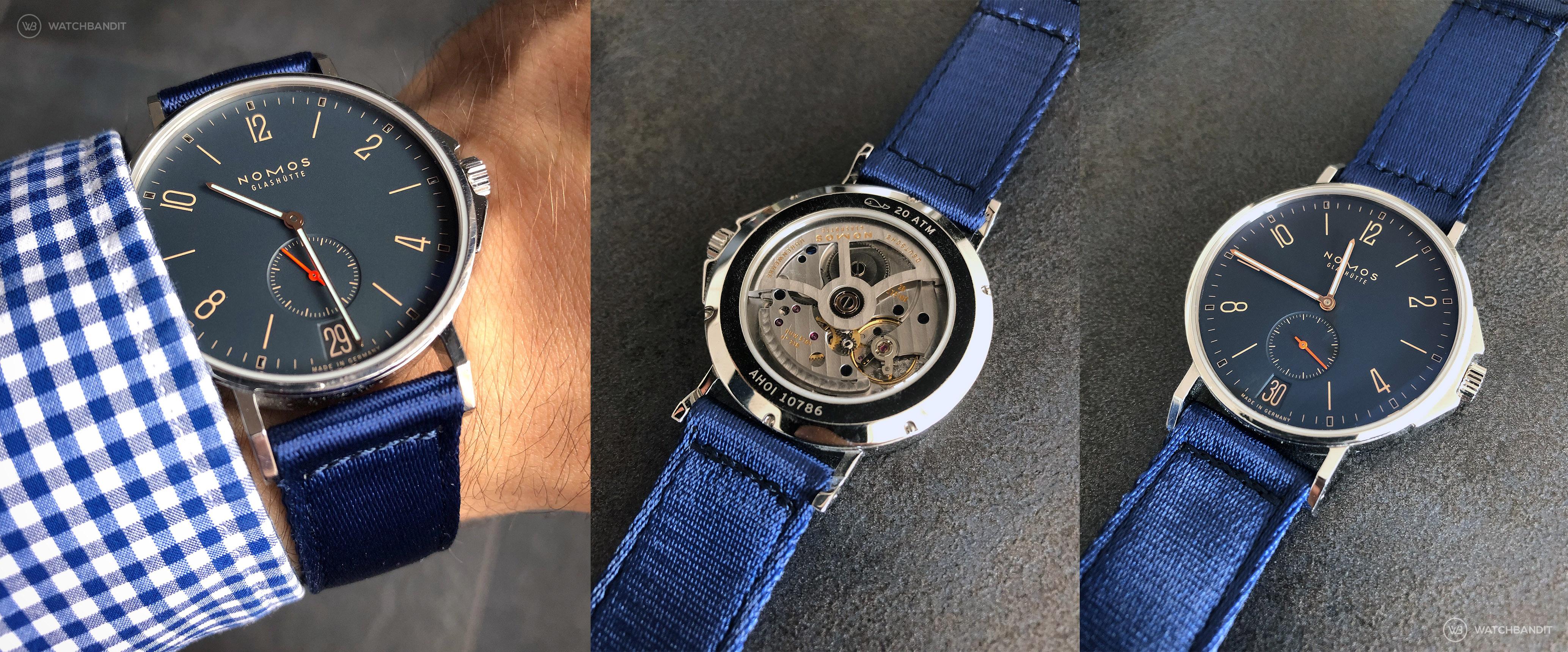 NOMOS Ahoi Atlantik Datum mit WB Original zweiteiligen NATO Uhrenarmband mit Sichtboden und Uhrwerk DUW5001