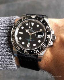 Rolex GMT Master II am schwarzen zweiteiligen NATO Uhrenarmband von Watchbandit