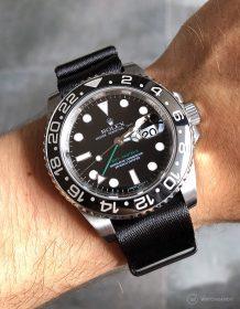Rolex GMT Master II am schwarzen 1.2 mm NATO Uhrenarmband von Watchbandit