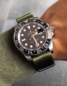 Rolex GMT Master II am grünen 1.2 mm NATO Uhrenarmband von Watchbandit