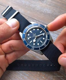 Tudor BB blue adjustable single pass NATO strap by watchbandit