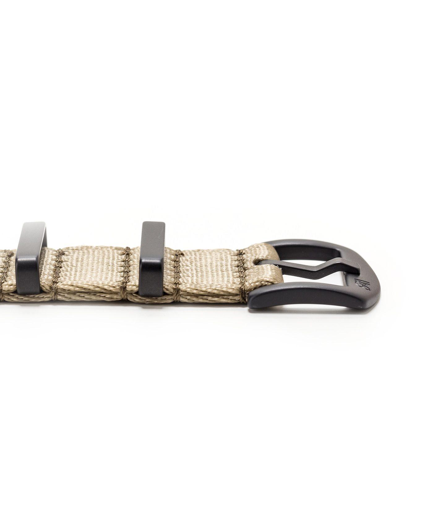 Watchbandit WB original Wristporn Nato strap in olive beige black clasp close up