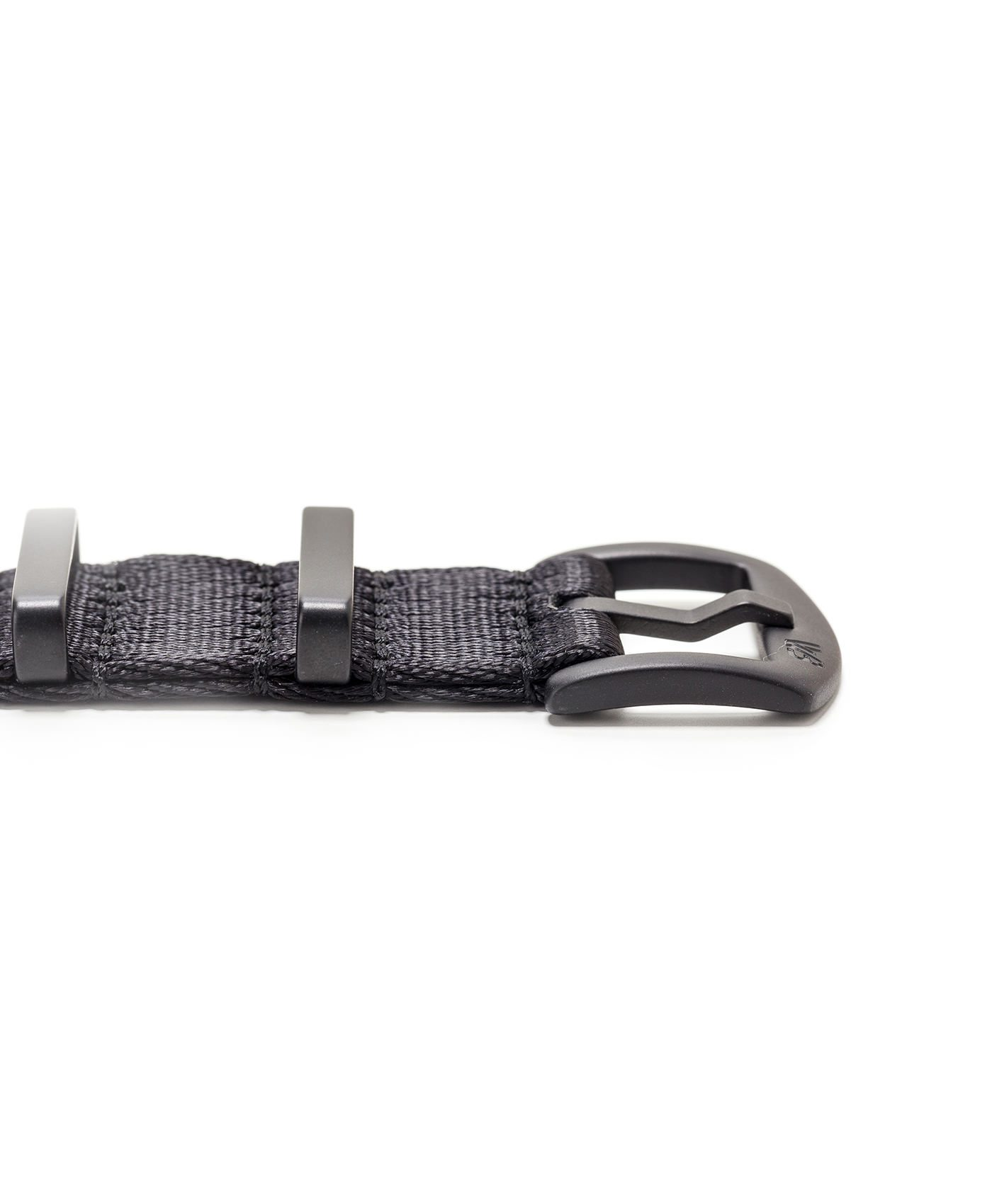 Watchbandit WB original Wristporn Nato strap in black with black clasp close up