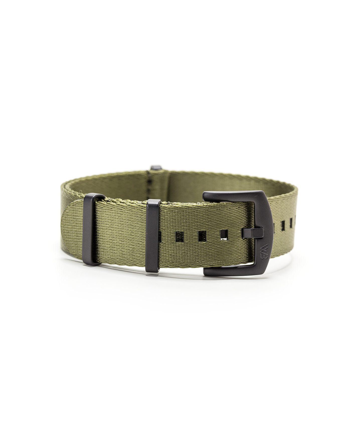 Watchbandit WB original Wristporn Nato strap in olive green and black buckles