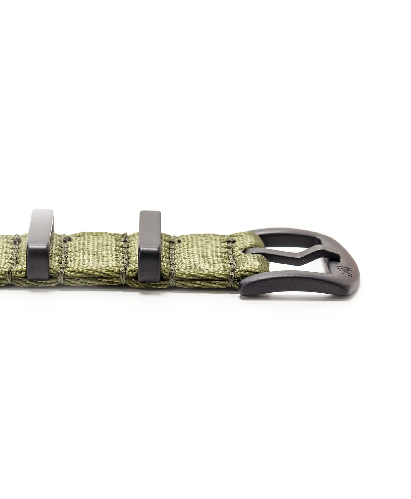 Watchbandit WB original Wristporn Nato strap in olive green black clasp close up