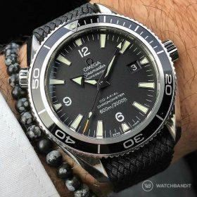 Omega Seamaster grey WB Original perlon strap wristshot