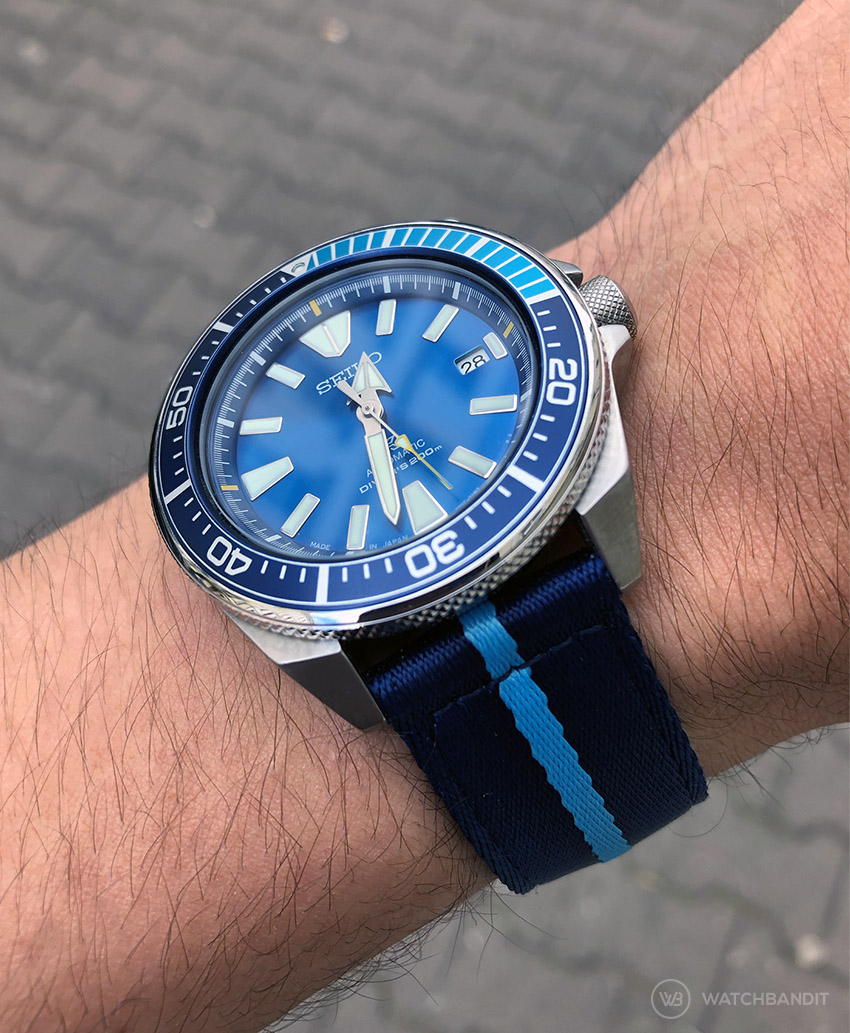 Seiko Prospex Blue Lagoon on Blue Sky Blue two piece NATO Strap by Watchbandit on