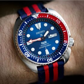 Padi Turtle Prospex blue red twp piece nato strap watchbandit