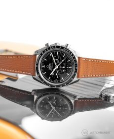 Omega Speedmaster Professional Strap on textured calfskin leather strap Tanned