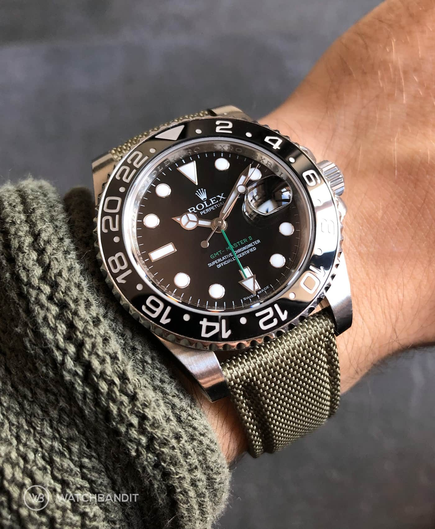 Rolex GMT Master II 116710LN on military green WB original Cordura® strap