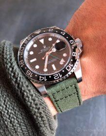 Rolex GMT Master II am grünen Canvas Uhrenarmband von Watchbandit