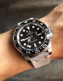 Rolex GMT Master II am grauen WIldlederarmband von Watchbandit
