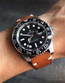 Rolex GMT Master II am braunen Vintagelederarmband von Watchbandit