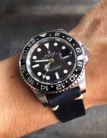 Rolex GMT Master II am mitternachtsblauen Vintagelederarmband von Watchbandit