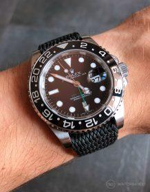 Rolex GMT Master II am schwarzen Perlon Uhrenarmband von Watchbandit