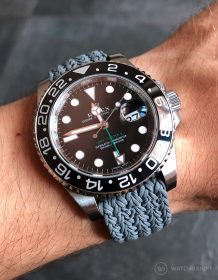 Rolex GMT Master II am grauen Eulit Perlon Uhrenarmband von Watchbandit