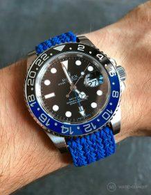 Rolex GMT Master II 126710BLNR am blauen Perlon Uhrenarmband von Watchbandit