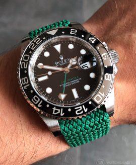 Rolex GMT Master II am grünen Perlon Uhrenarmband von Watchbandit
