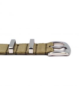Premium 1.2 mm seat belt NATO Strap beige buckle by WatchBandit