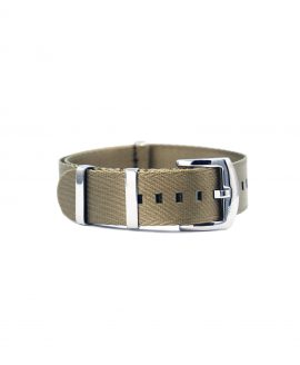 Premium 1.2 mm seat belt NATO Strap beige front by WatchBandit