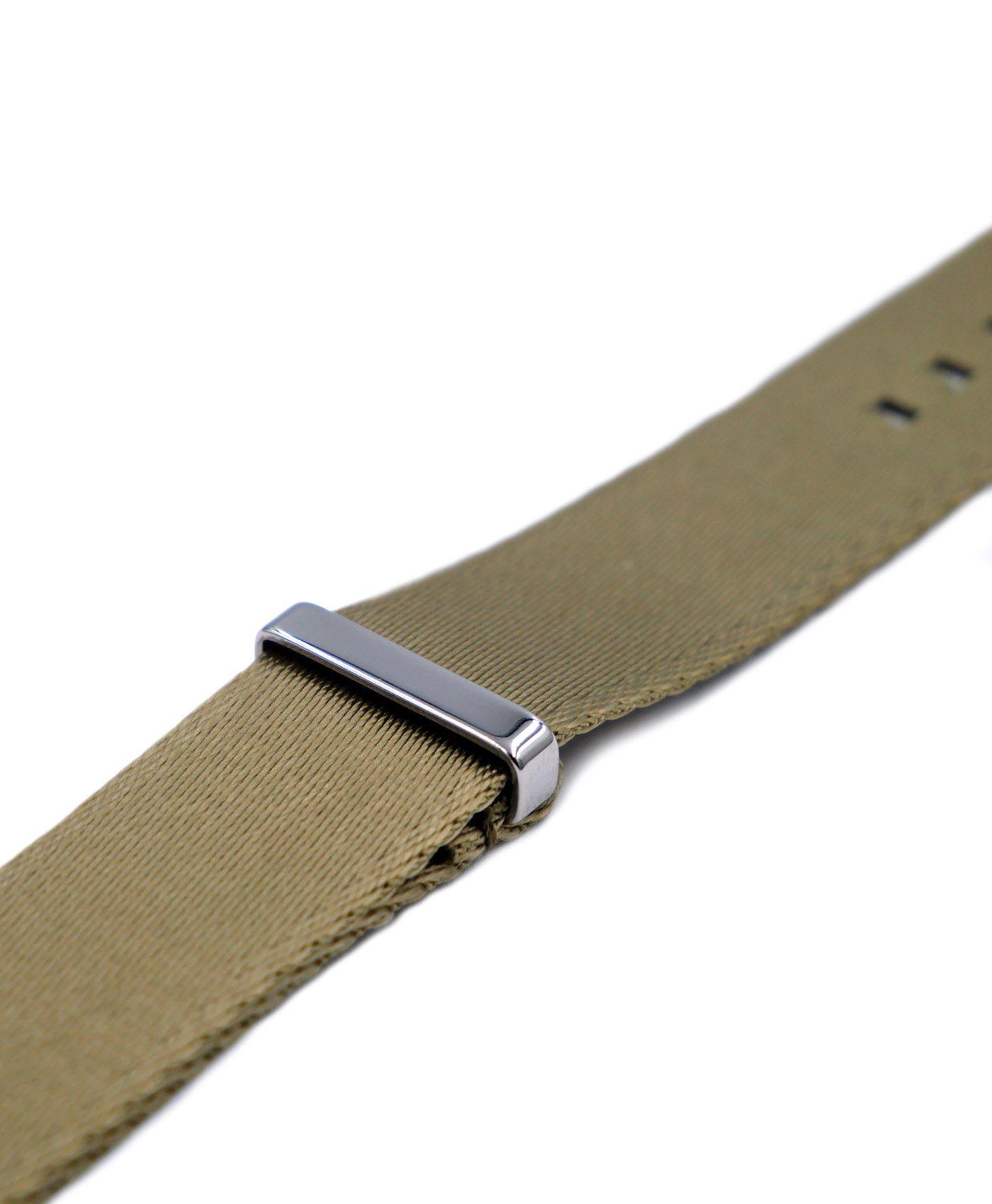 Premium 1.2 mm seat belt NATO Strap beige side by WatchBandit
