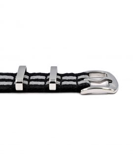 Premium 1.2 mm seat belt NATO Strap black grey striped buckle by WatchBandit