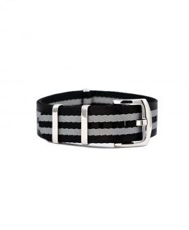 Premium 1.2 mm seat belt NATO Strap black grey striped front by WatchBandit