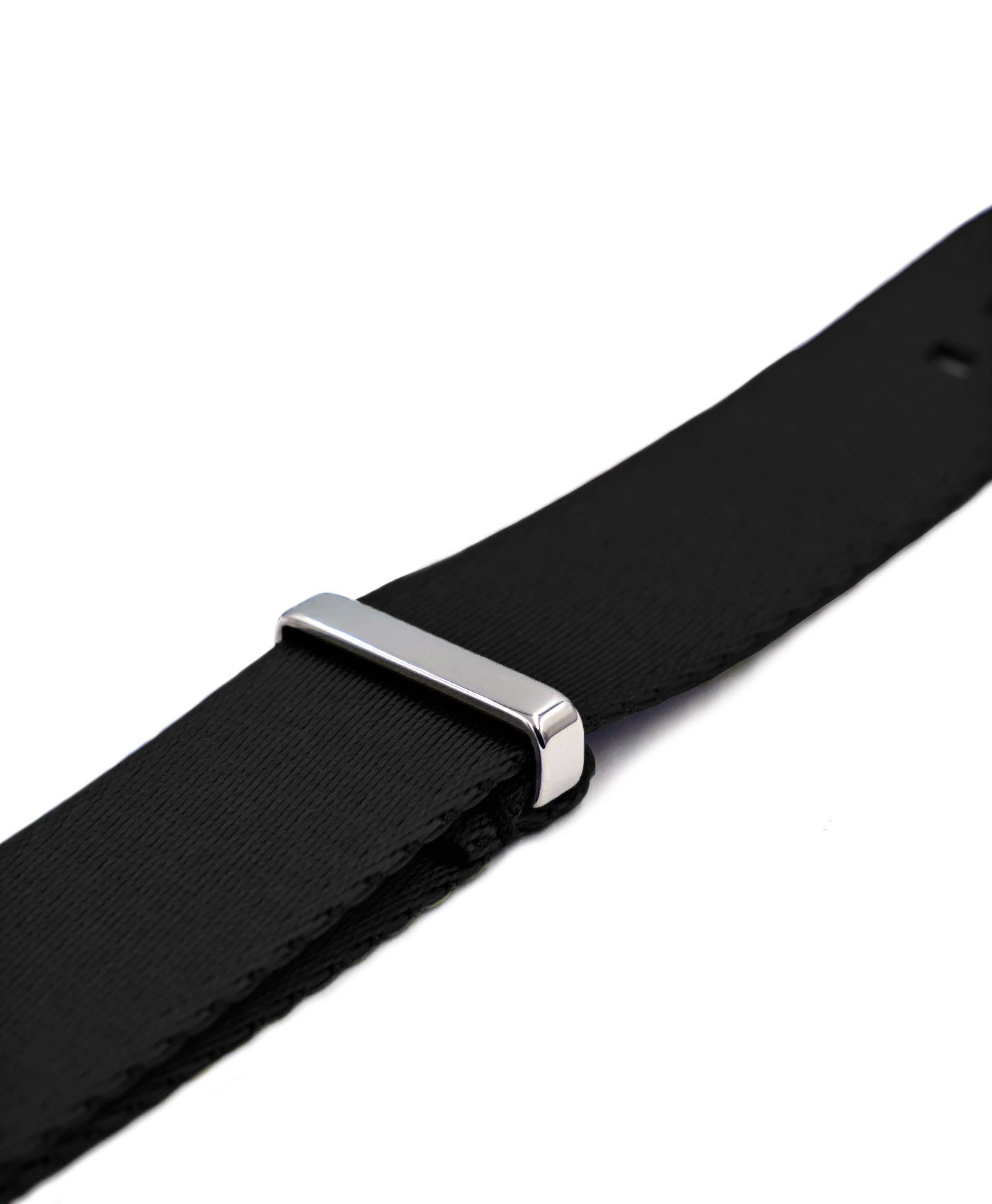 Premium 1.2 mm seat belt NATO Strap black side by WatchBandit