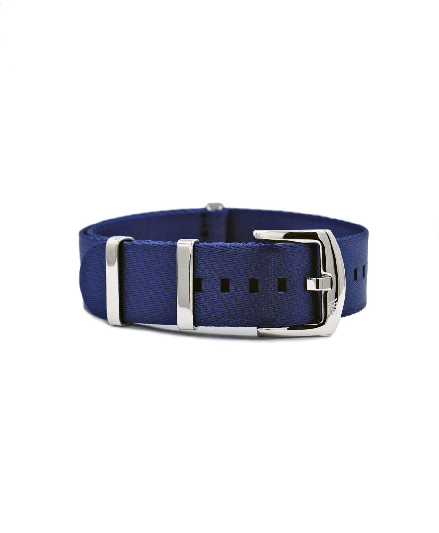 Premium 1.2 mm seat belt NATO Strap blue front by WatchBandit
