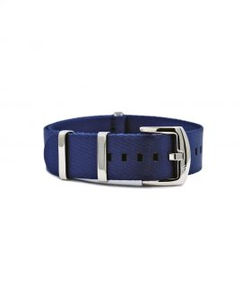 Premium 1.2 mm seat belt NATO Strap blue front by WatchBandit