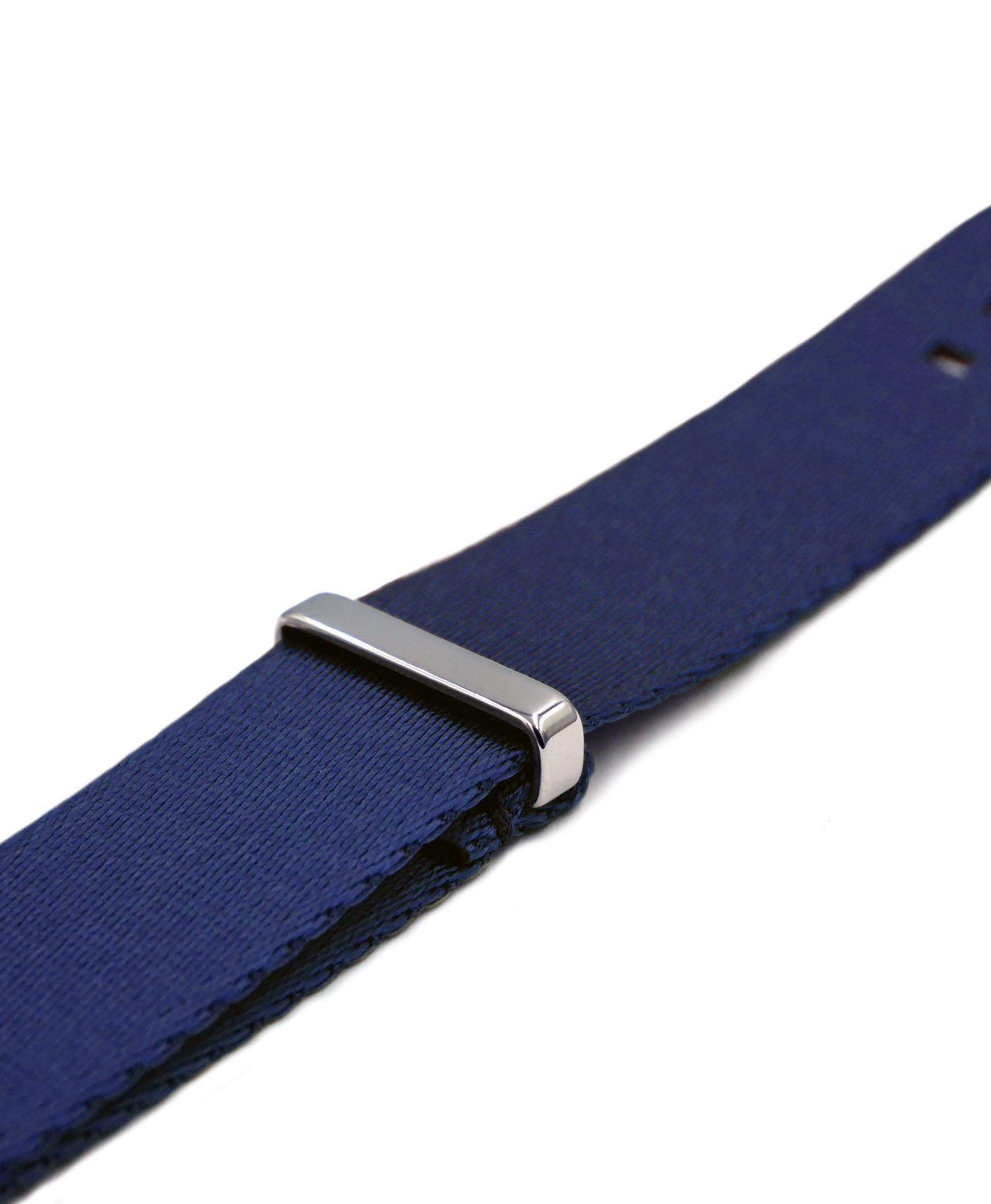 Premium 1.2 mm seat belt NATO Strap black grey striped side by WatchBandit