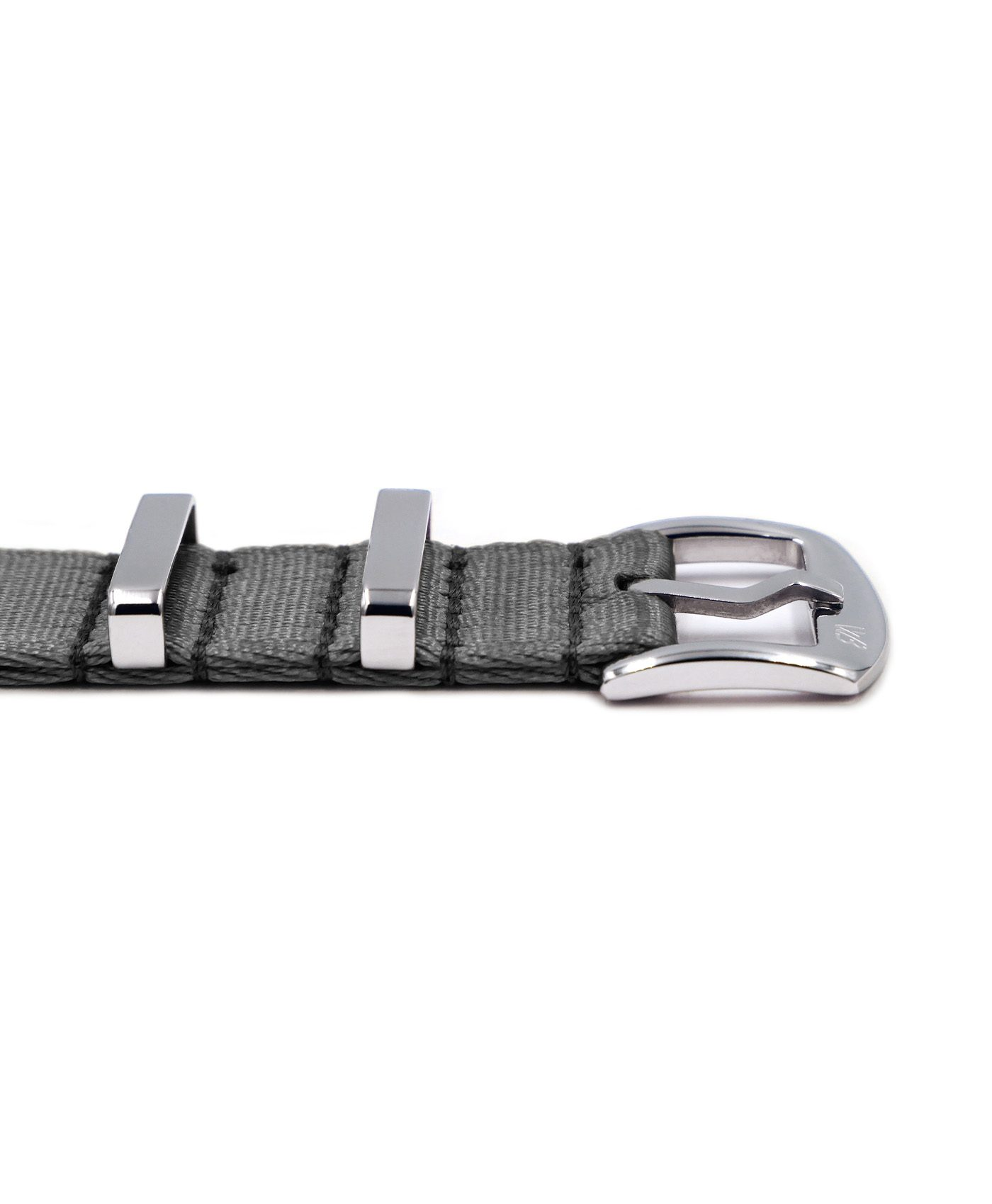 Premium 1.2 mm seat belt NATO Strap grey buckle by WatchBandit