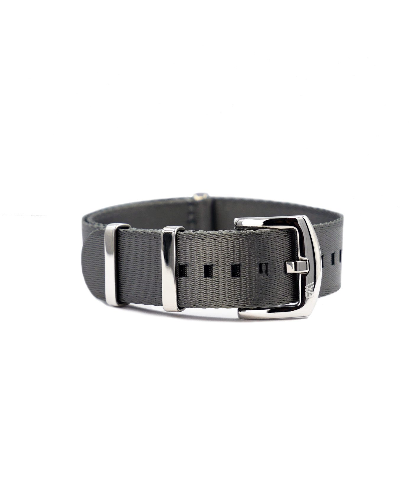 Premium 1.2 mm seat belt NATO Strap grey front by WatchBandit