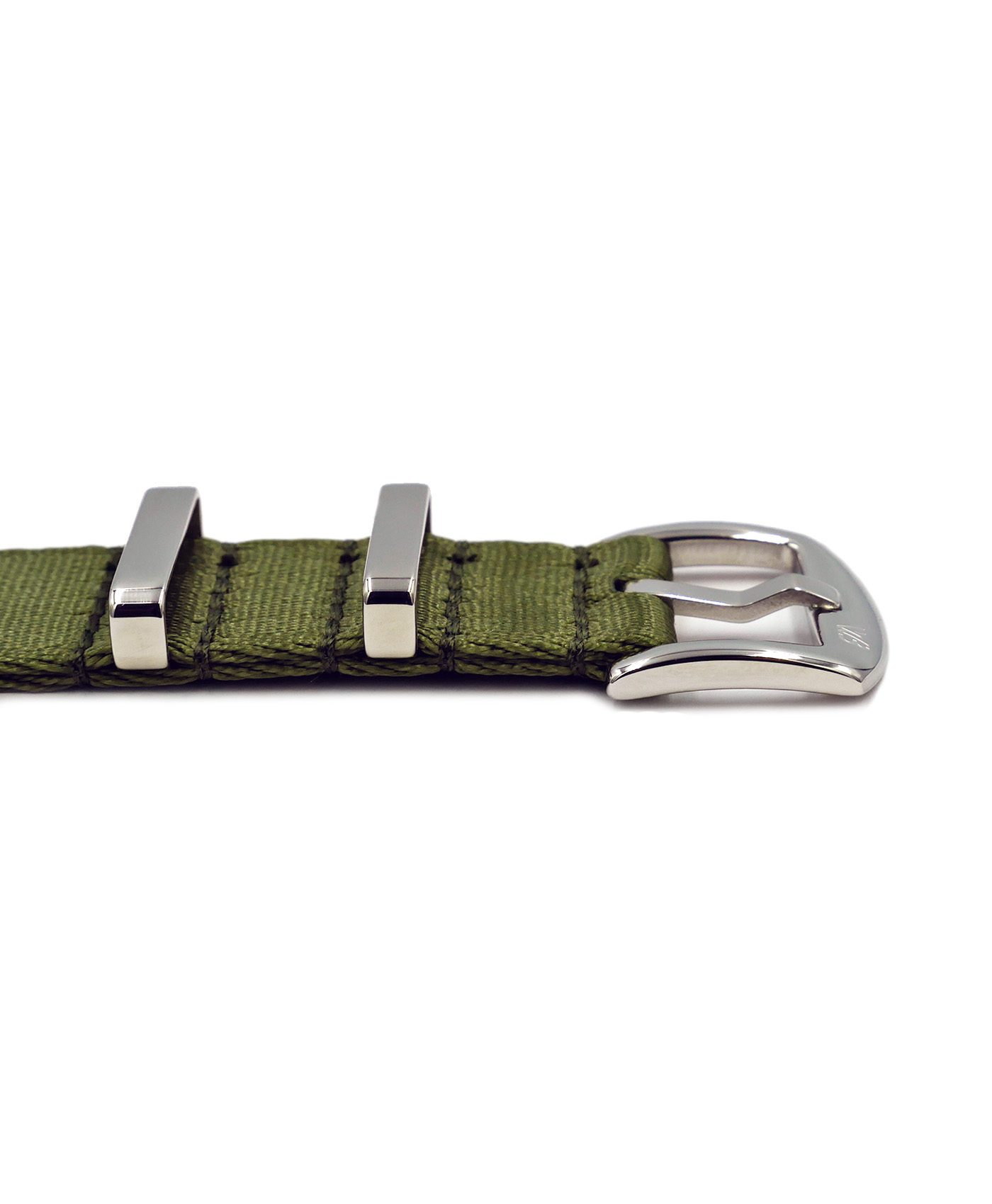 Premium 1.2 mm seat belt polished NATO Strap green buckle by WatchBandit