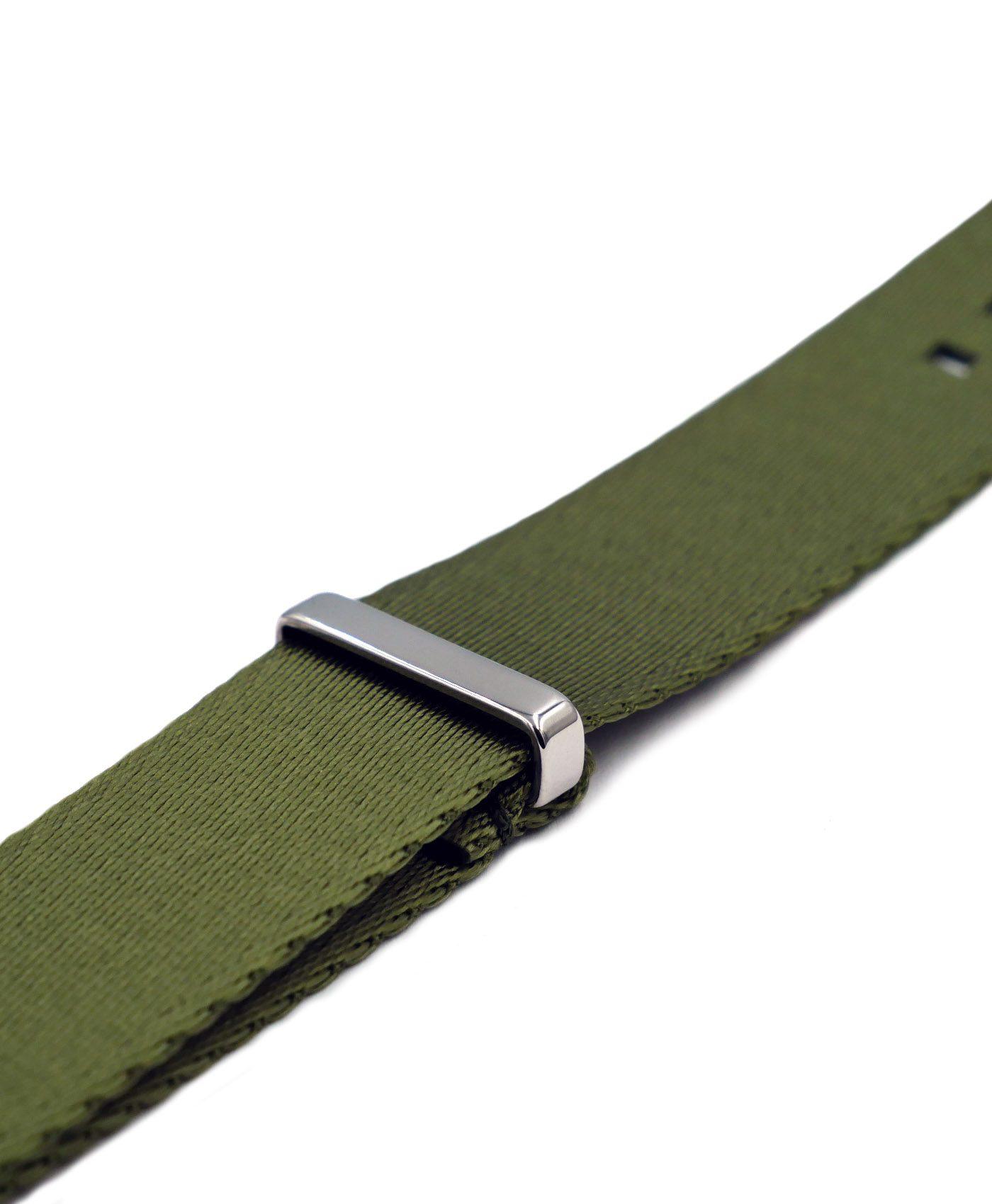 Premium 1.2 mm seat belt NATO Strap green side by WatchBandit