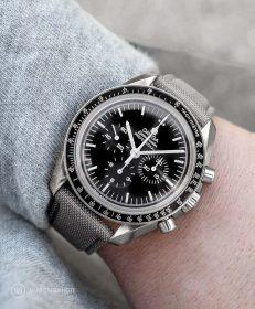 Watchbandit grey Cordura watch strap Omega Speedmaster Professional