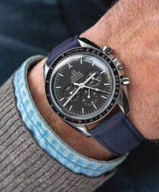 Watchbandit navy blue Cordura watch strap Omega Speedmaster Professional
