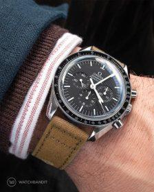 Omega Speedmaster an Canvas Uhrennarmband Beige von Watchbandit
