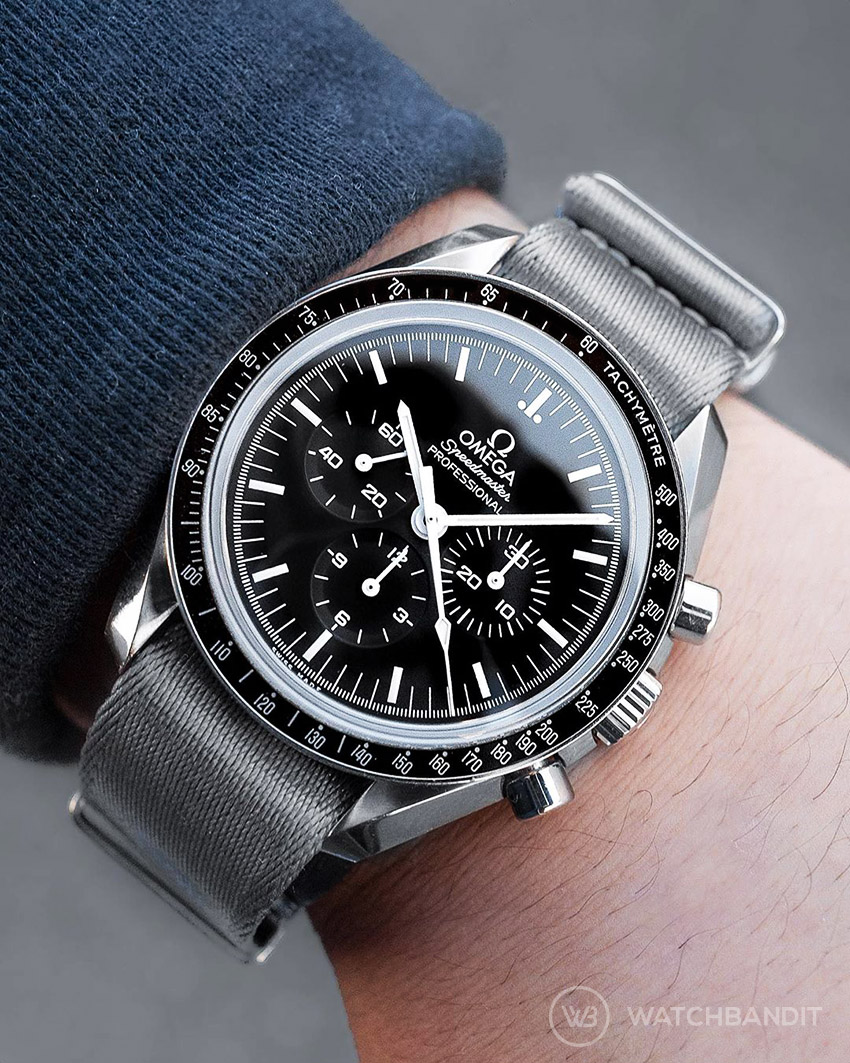Omega Speedmaster on premium grey nato strap by watchbandit