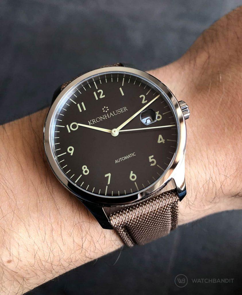 Kronhauser Blue Watchbandit Cordura strap khaki