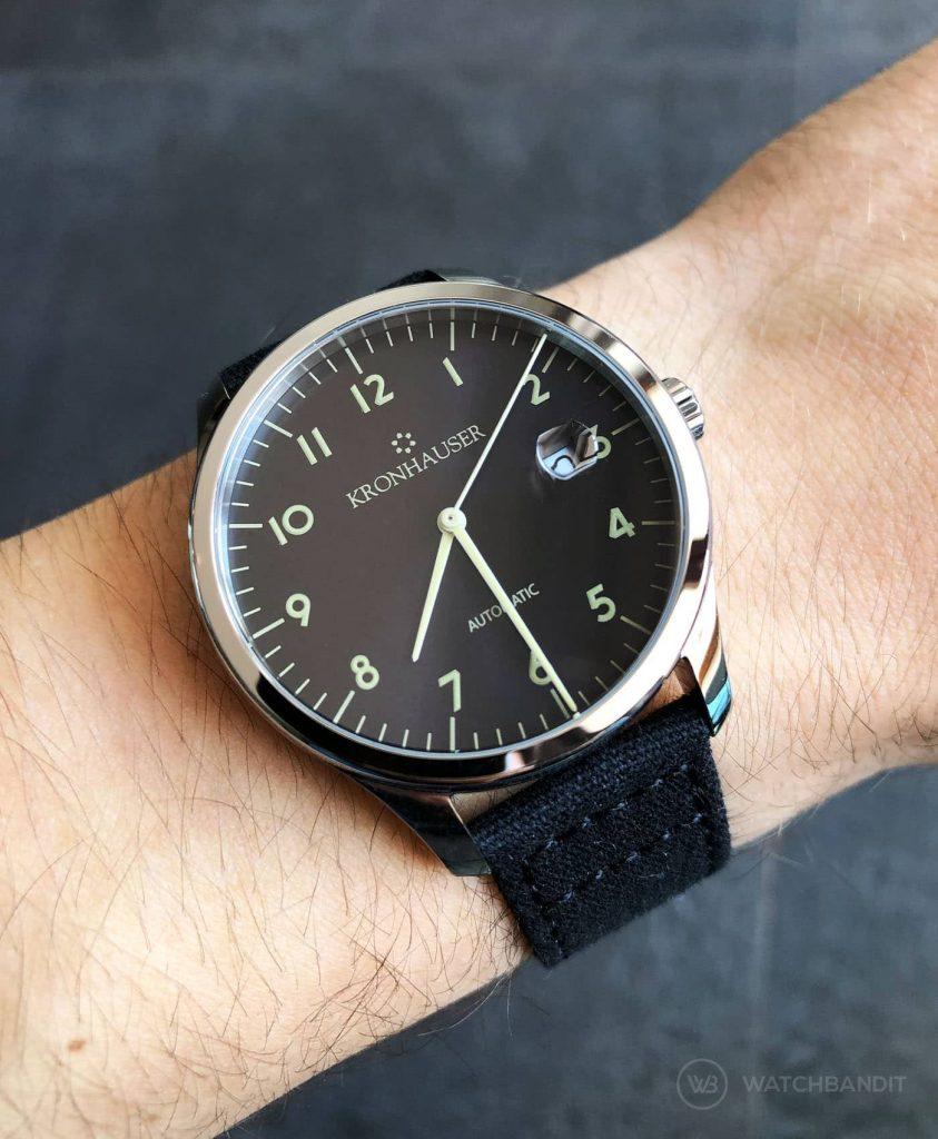 Kronhauser Blue Watchbandit canvas strap black