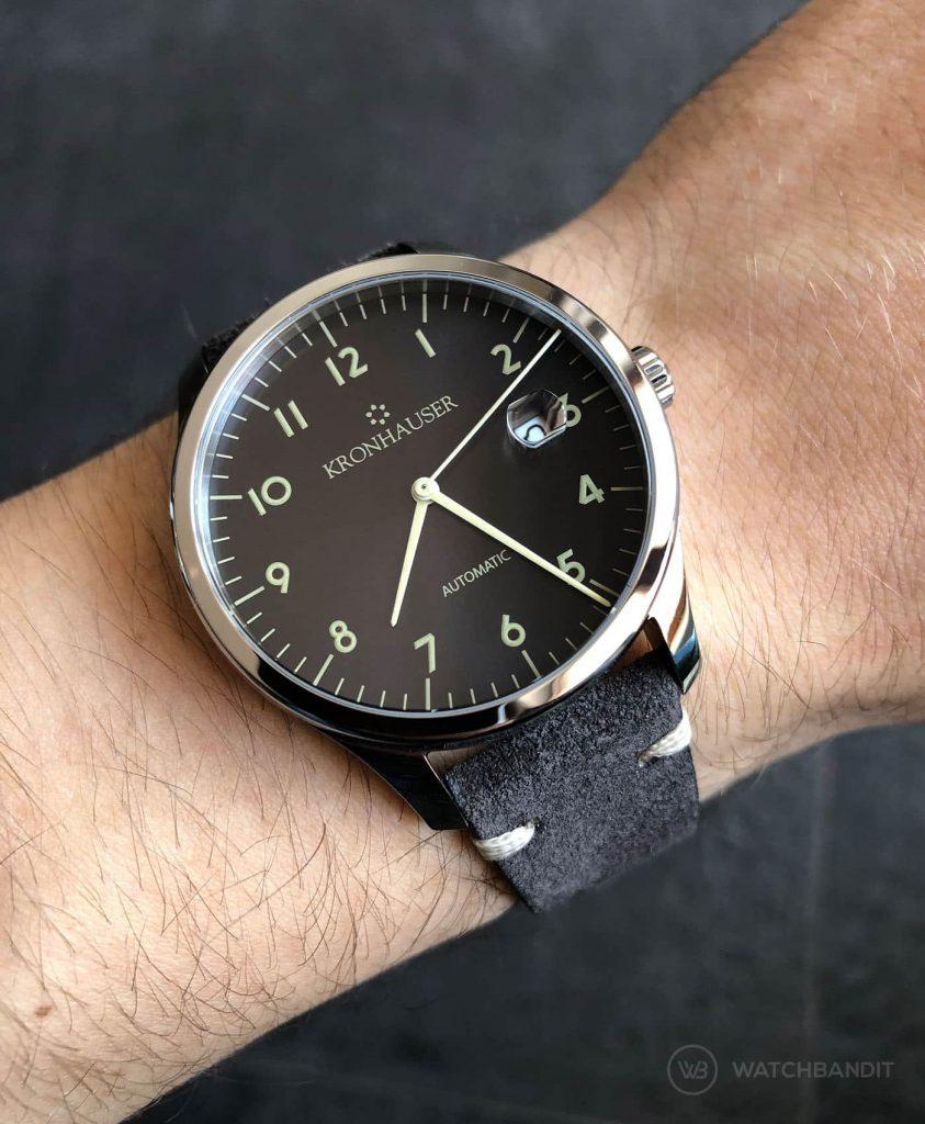 Kronhauser Blue Watchbandit suede leather dark grey